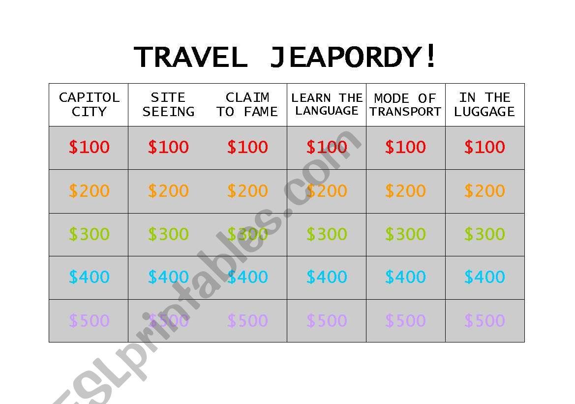 Travel Jeopordy