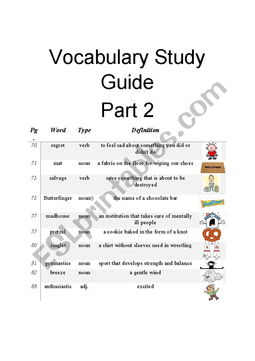 Diary of a Wimpy Kid Vocabulary Study Guide Part 2 of 3