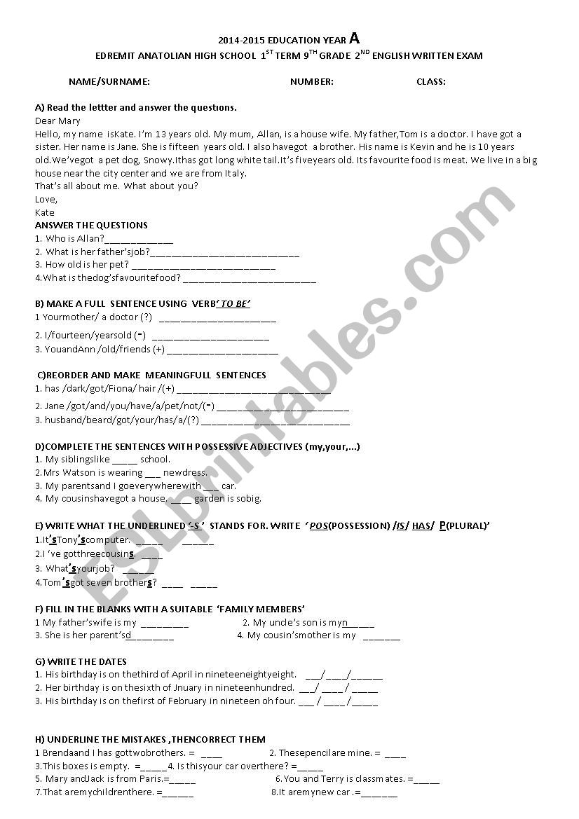 hight resolution of 2nd wrýtten exam for 9th grade students - ESL worksheet by dilekche