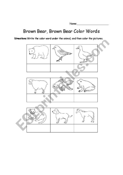 small resolution of brown bear worksheet