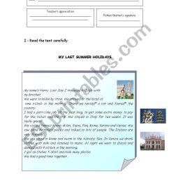 My last Summer holidays 1 -Test- 6th grade - ESL worksheet by miss-o [ 1169 x 821 Pixel ]