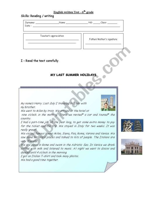 small resolution of My last Summer holidays 1 -Test- 6th grade - ESL worksheet by miss-o