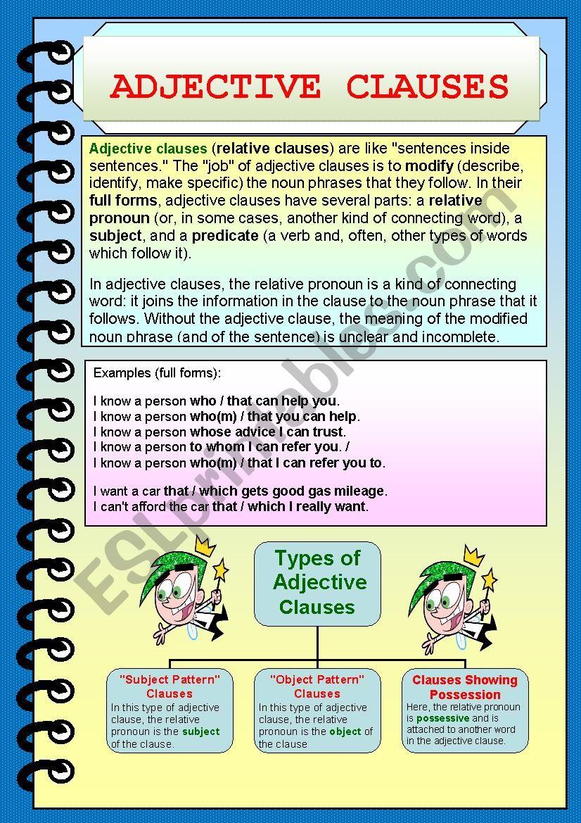 Grammar Worksheet Adjective Clause Whom