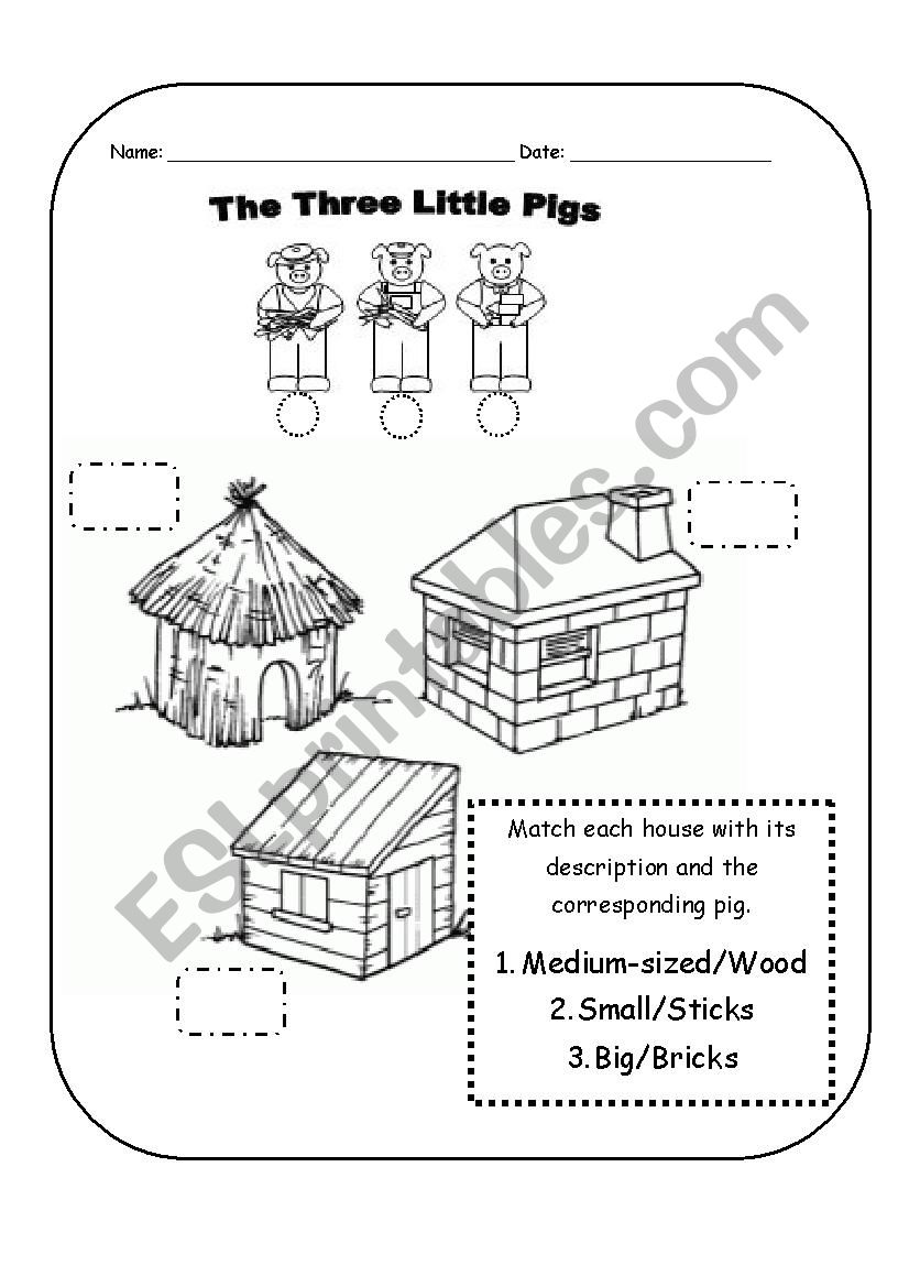 hight resolution of the three little pigs worksheet