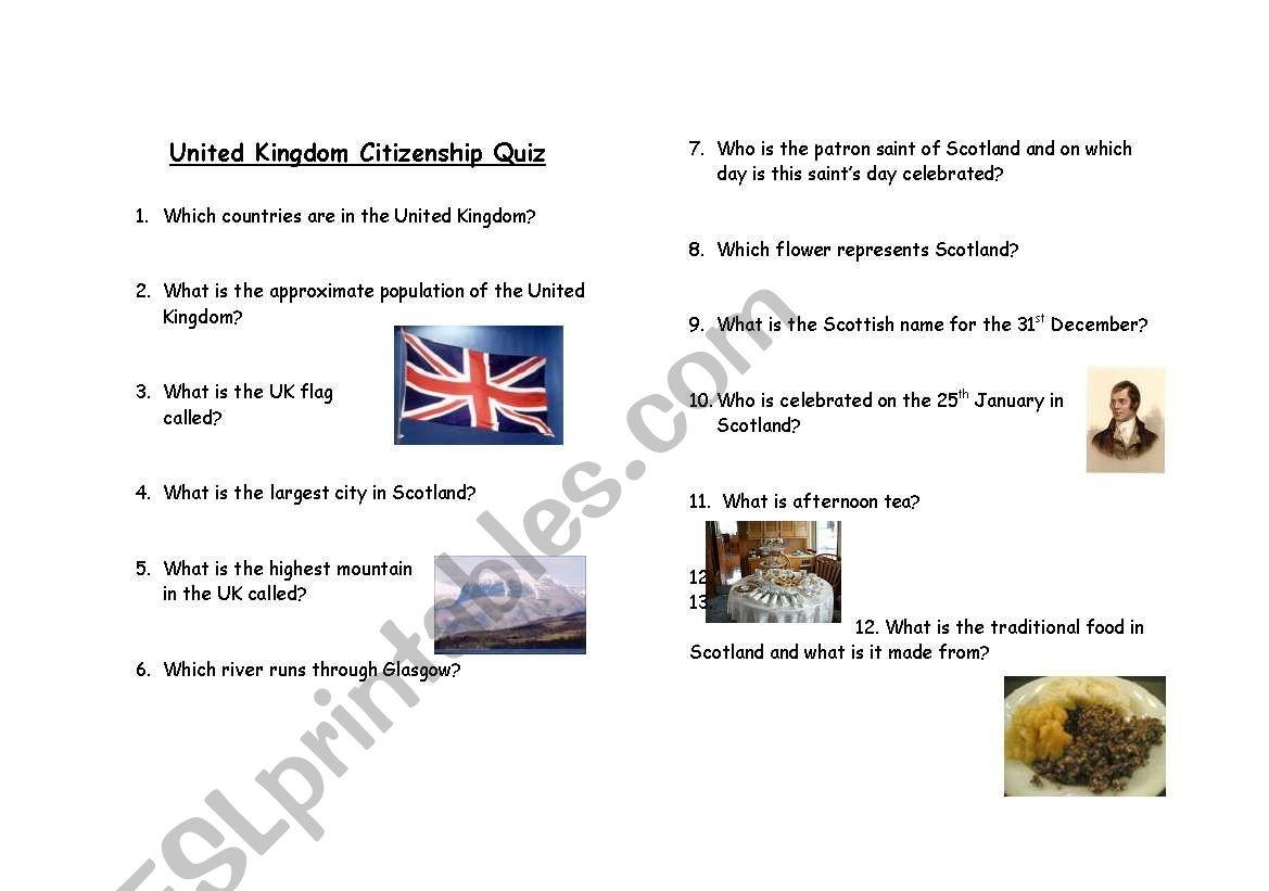 United Kingdom Citizenship Quiz