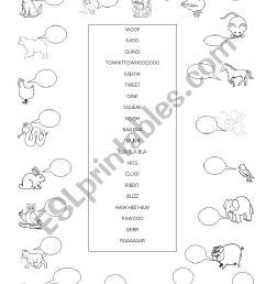 Onomatopoeia - Animal sounds - ESL worksheet by busysanta [ 1169 x 826 Pixel ]
