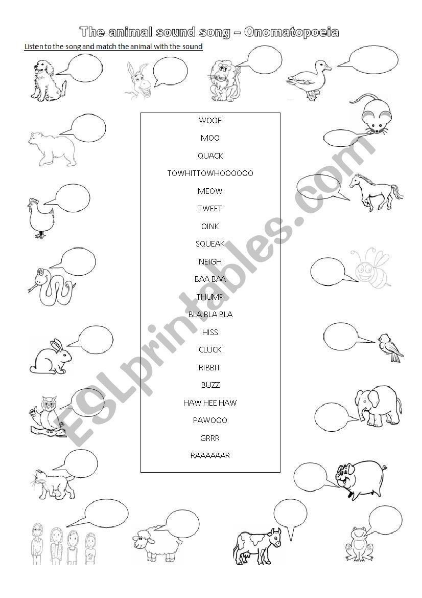 medium resolution of Onomatopoeia - Animal sounds - ESL worksheet by busysanta