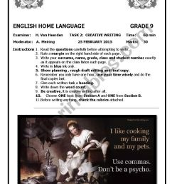 Grade 9 Creative Writing Test - ESL worksheet by MsvanHeerden [ 1169 x 826 Pixel ]
