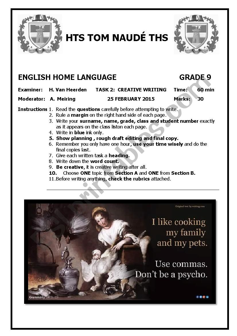 medium resolution of Grade 9 Creative Writing Test - ESL worksheet by MsvanHeerden