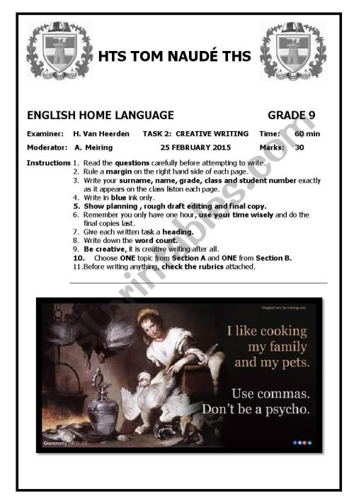 small resolution of Grade 9 Creative Writing Test - ESL worksheet by MsvanHeerden