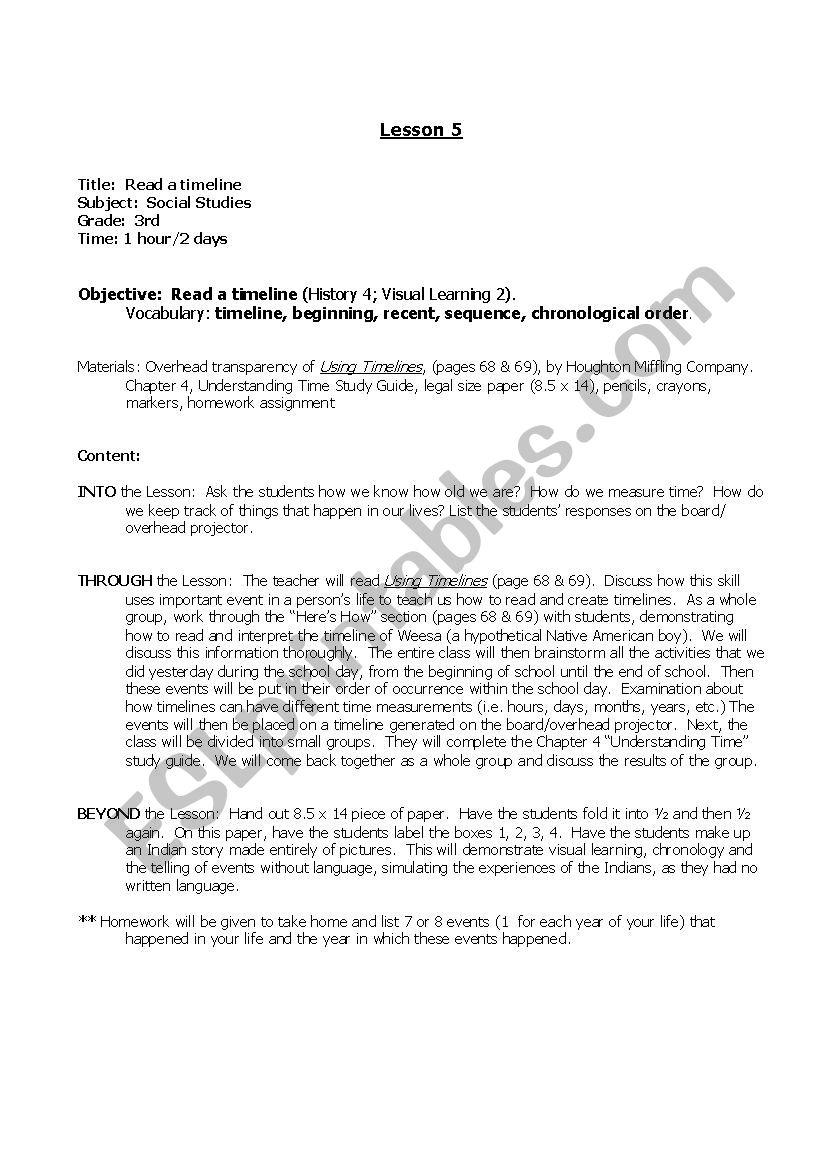 medium resolution of Read a Timeline - ESL worksheet by etcetera13