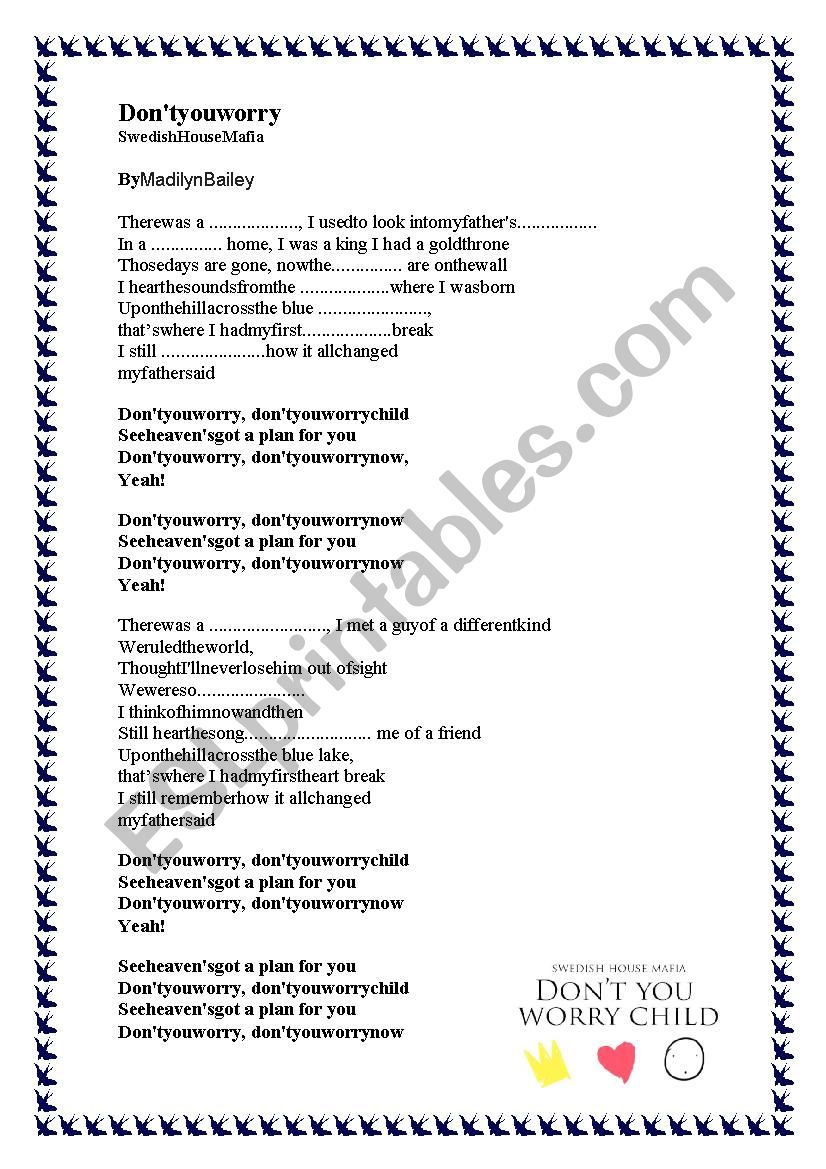 Song - Don´t you worry - ESL worksheet by VeronicaW