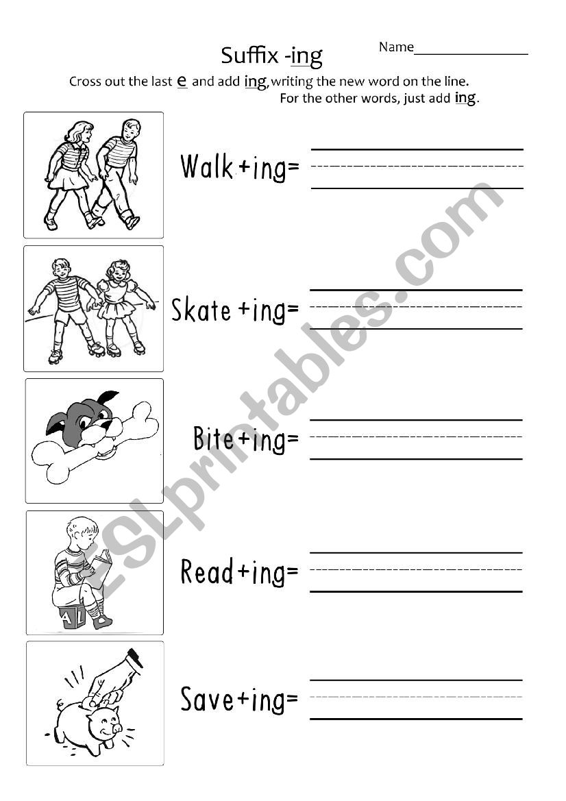 hight resolution of Suffix ´-ing´ Year 1 #2 - ESL worksheet by TaraEricson