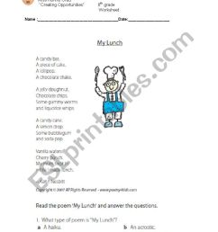 reading poem about lunch - ESL worksheet by kayty [ 1169 x 826 Pixel ]