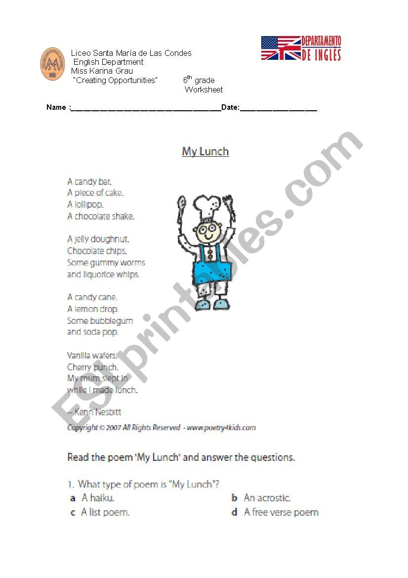 hight resolution of reading poem about lunch - ESL worksheet by kayty