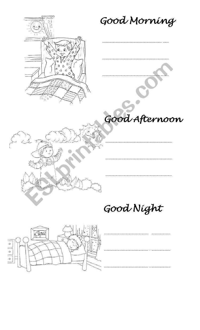 English worksheets: Good Morning, Good Afternoon and Good