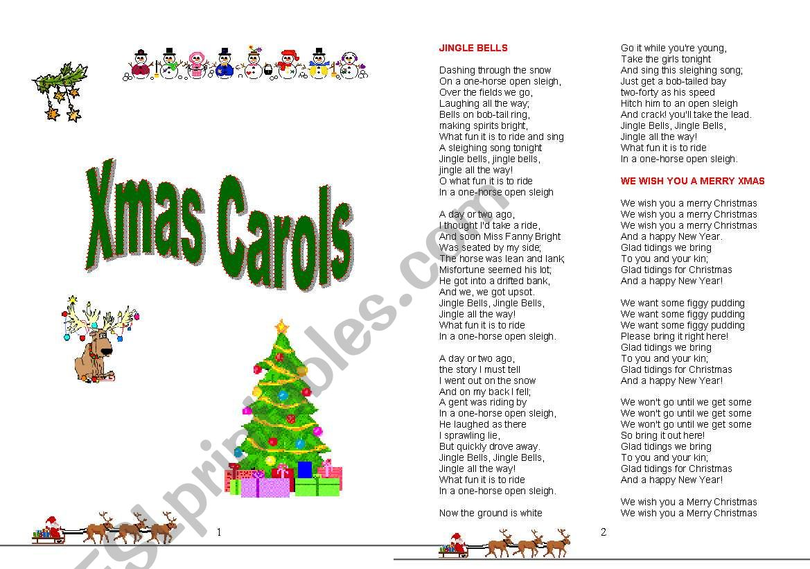 Booklet With Xmas Carol Lyrics