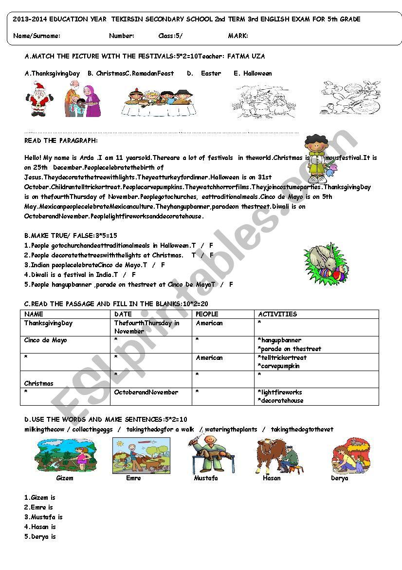 medium resolution of 5th grade exam term:2 exam:3 for TURKISH students - ESL worksheet by  fatossworld