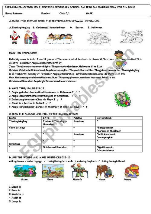 small resolution of 5th grade exam term:2 exam:3 for TURKISH students - ESL worksheet by  fatossworld