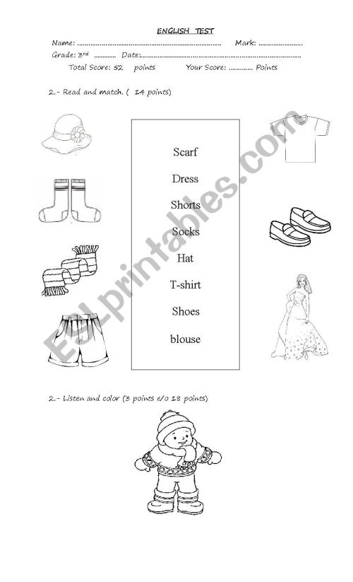small resolution of clothes - ESL worksheet by romy