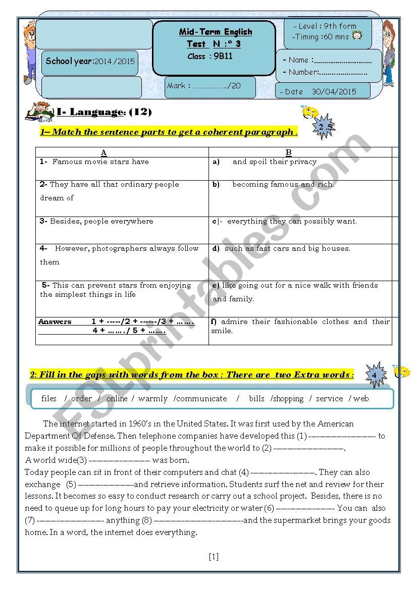medium resolution of English test 3 9th grade - ESL worksheet by kakouma