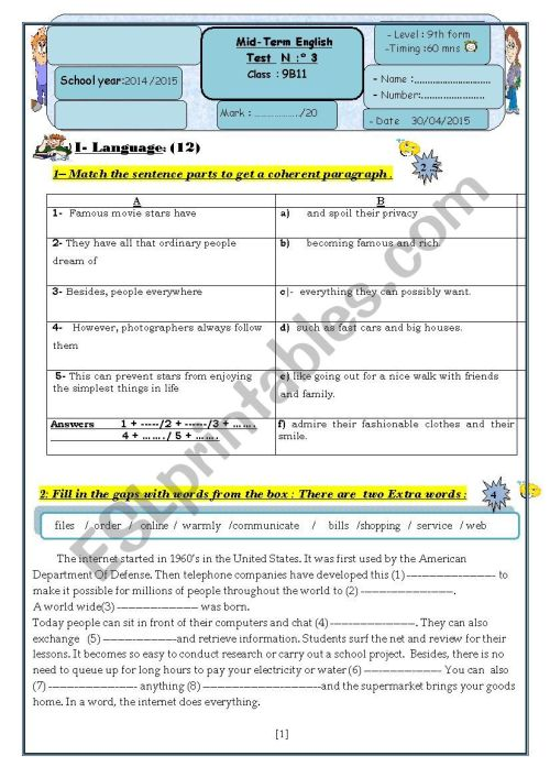 small resolution of English test 3 9th grade - ESL worksheet by kakouma