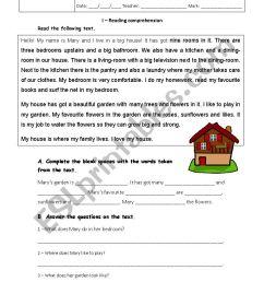 7th grade test - The House - ESL worksheet by joanadelmar [ 1169 x 826 Pixel ]