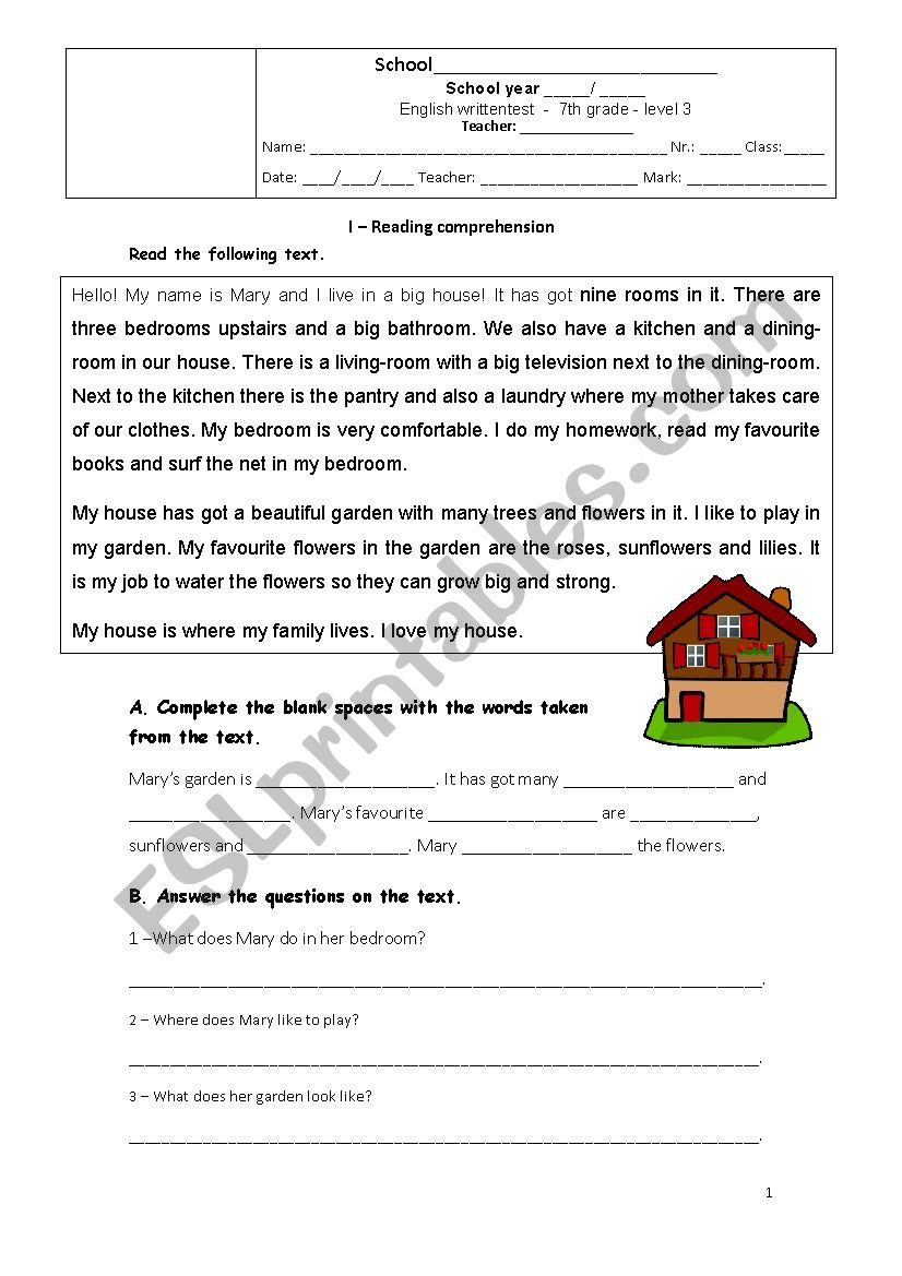 hight resolution of 7th grade test - The House - ESL worksheet by joanadelmar