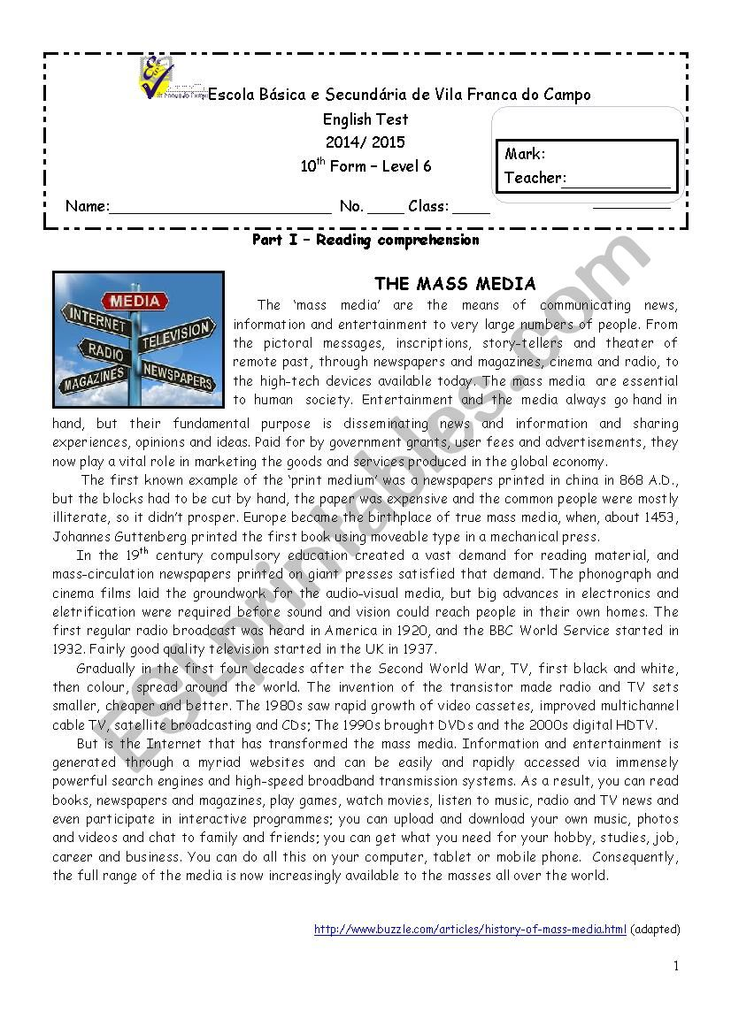 hight resolution of The Media - 10th grade test - ESL worksheet by Goreti Ponte