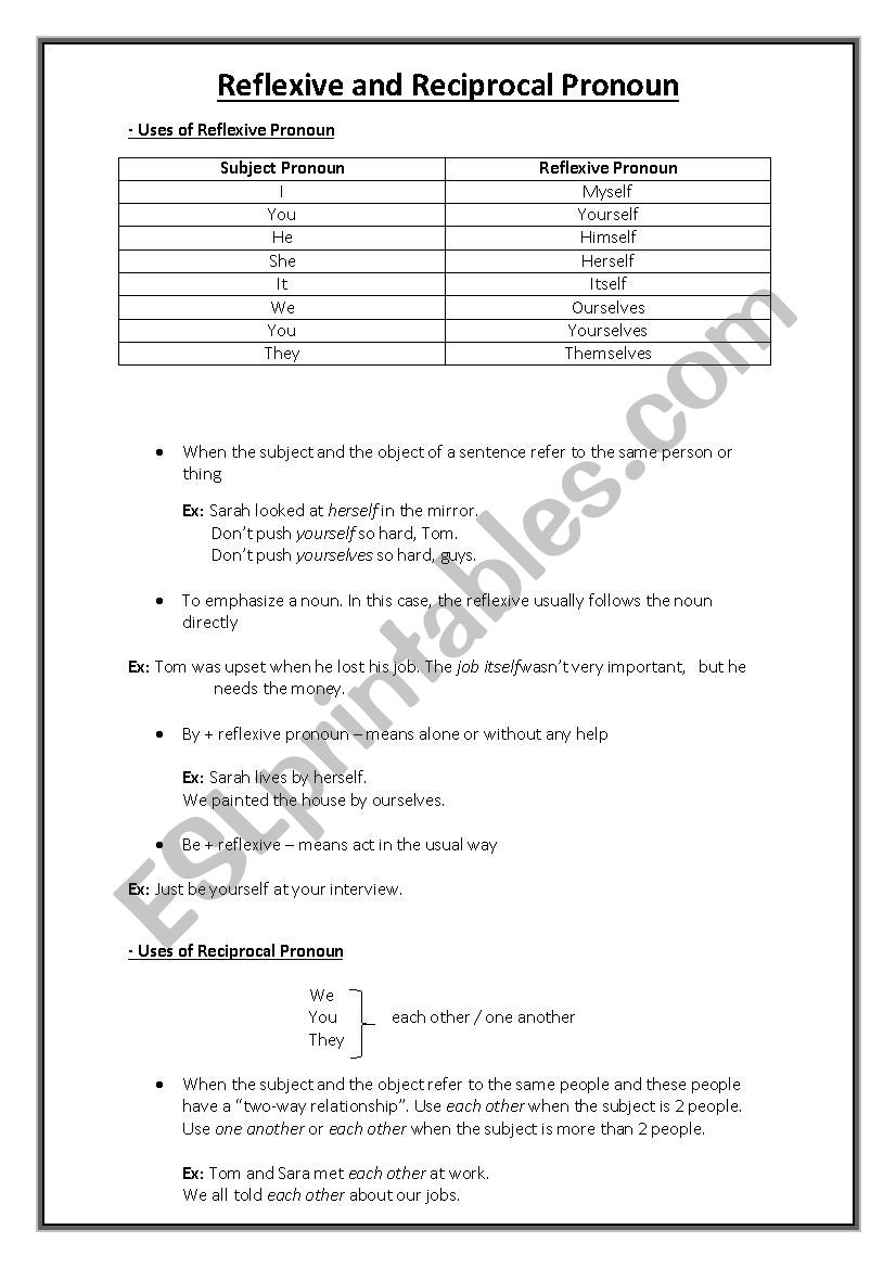 Reflexive And Reciprocal Pronoun Explanation And Exercises