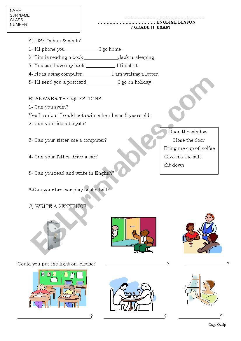 medium resolution of 7 grade intermediate past tense exam paper - ESL worksheet by cyberprincess
