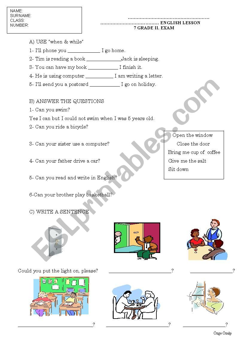 hight resolution of 7 grade intermediate past tense exam paper - ESL worksheet by cyberprincess