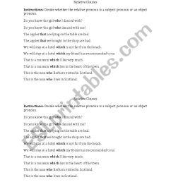 Subject/Object Relative Clauses Practice - ESL worksheet by ramirez2291 [ 1169 x 826 Pixel ]