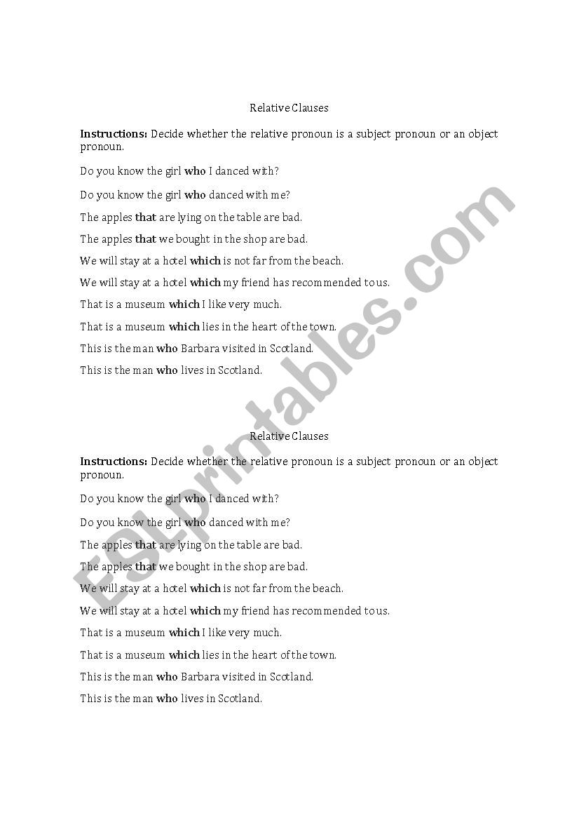 medium resolution of Subject/Object Relative Clauses Practice - ESL worksheet by ramirez2291