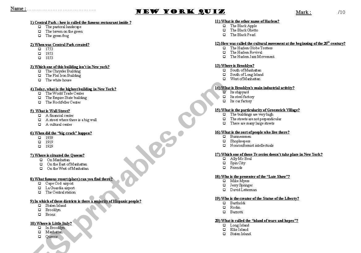 New York Quiz