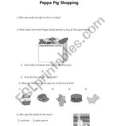 peppa pig shopping worksheet [ 826 x 1169 Pixel ]