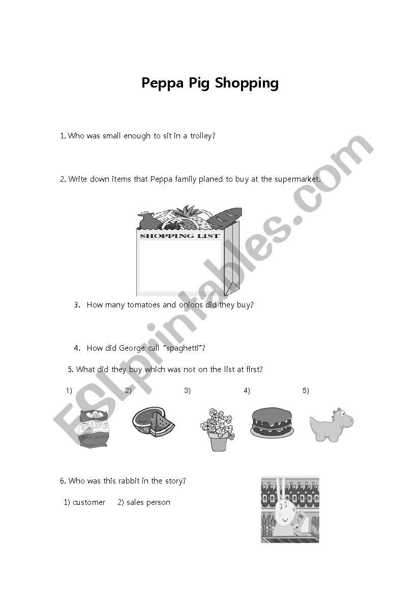 hight resolution of peppa pig shopping worksheet