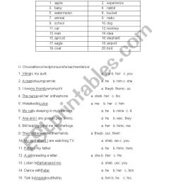 5th grade noun test - ESL worksheet by dedee4u [ 1169 x 826 Pixel ]