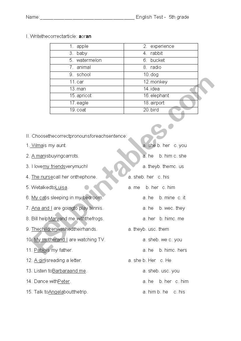 hight resolution of 5th grade noun test - ESL worksheet by dedee4u