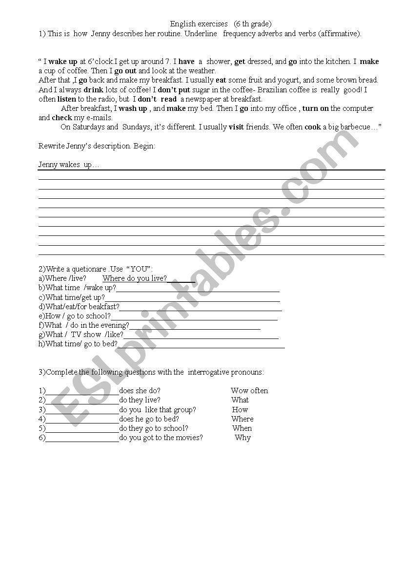 hight resolution of English exercises- 6 grade-simple presente and interrogative pronouns - ESL  worksheet by Cinara1970