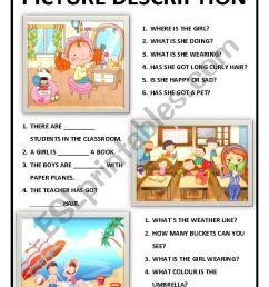 PICTURE DESCRIPTION FOR KIDS - ESL worksheet by mariasoldossantos [ 1169 x 826 Pixel ]