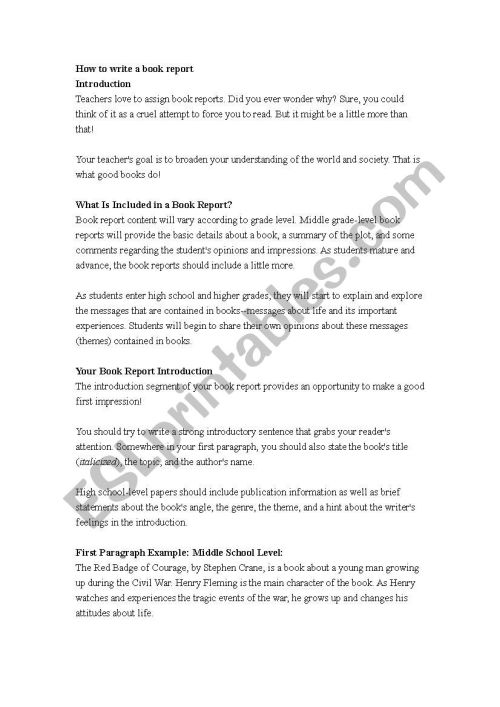small resolution of How to write a book report - ESL worksheet by flkpt