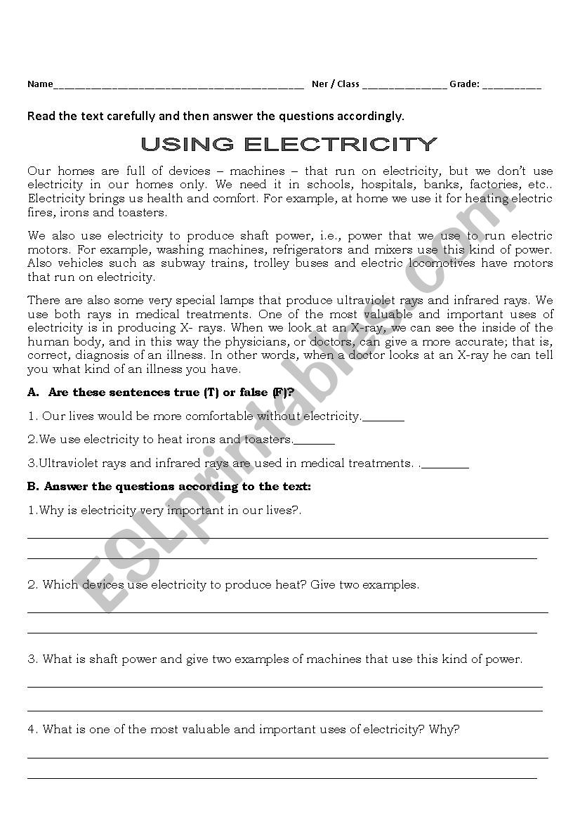 medium resolution of Electricity Today - ESL worksheet by Isabella31