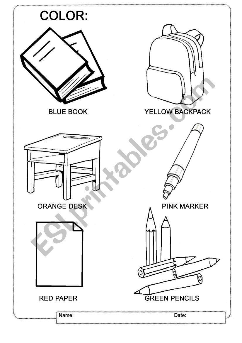 School Worksheets Matching Objects Sketch Coloring Page