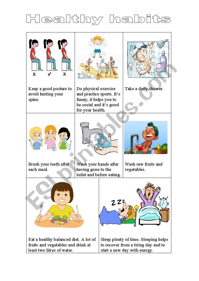 hight resolution of Healthy habits - ESL worksheet by risas