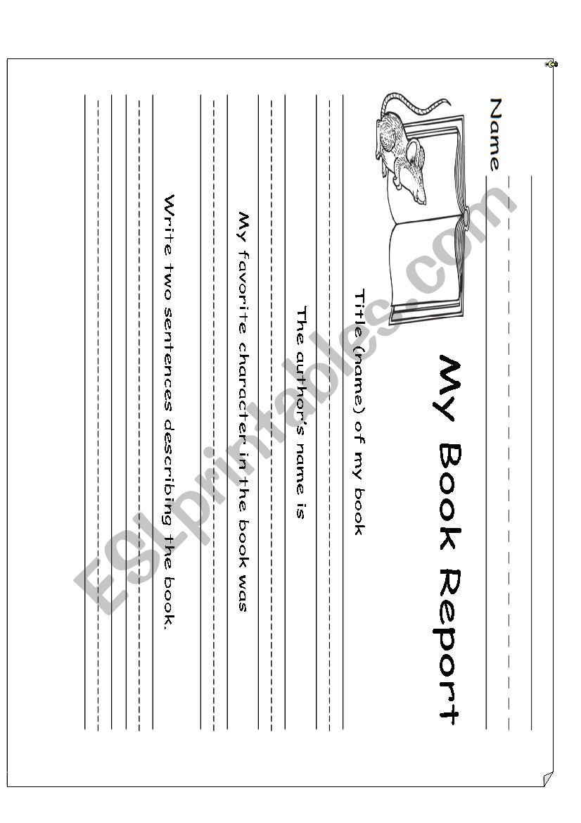 medium resolution of Book Report First Grade - ESL worksheet by dianisslp