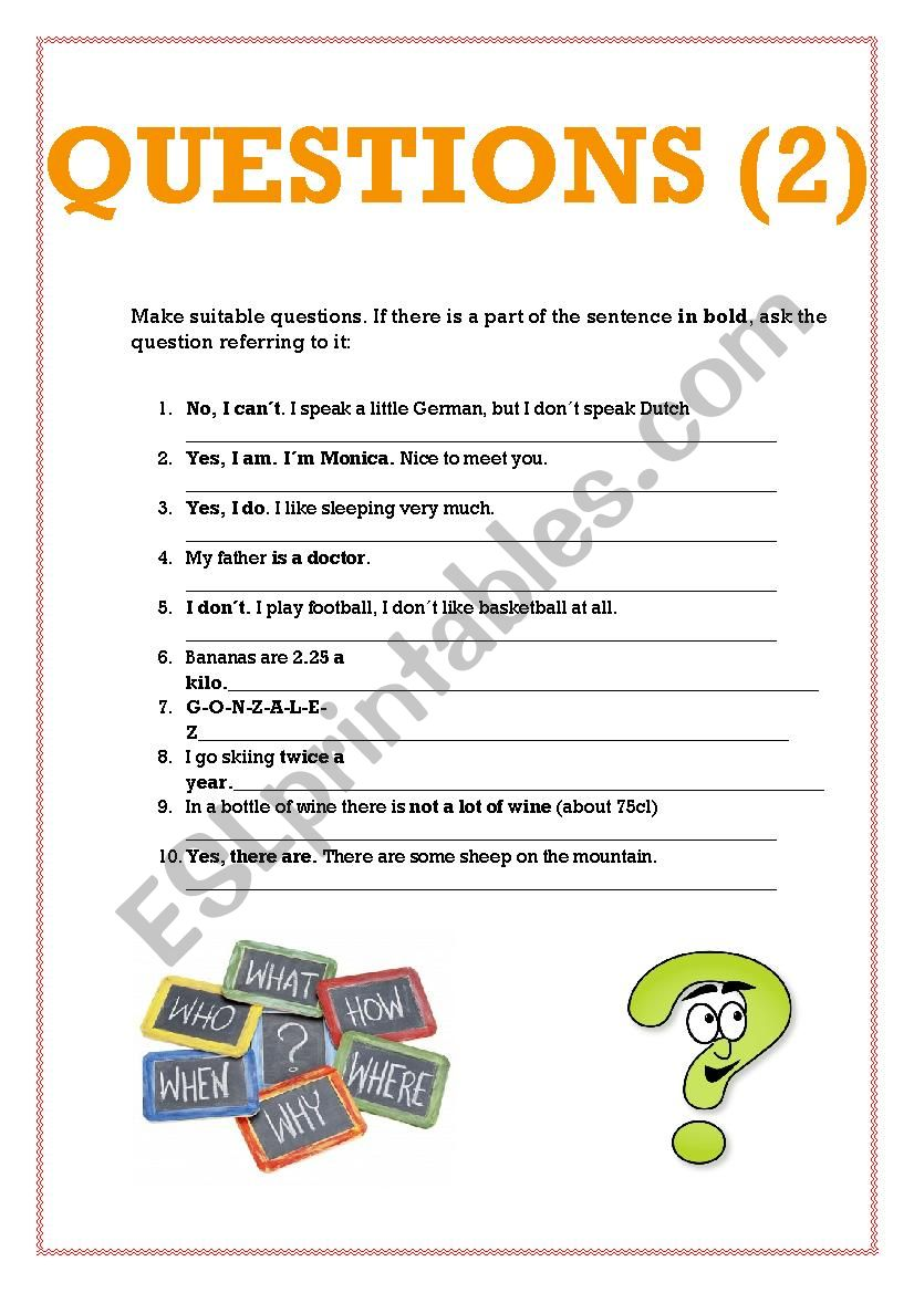 medium resolution of Make questions 2 - ESL worksheet by cris_ti_na