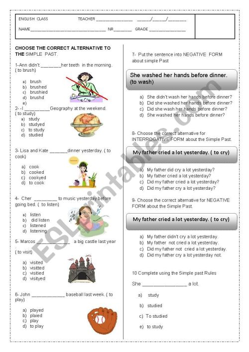 small resolution of SIMPLE PAST WORKSHEET- MULTIPLE CHOICE - ESL worksheet by amabilli