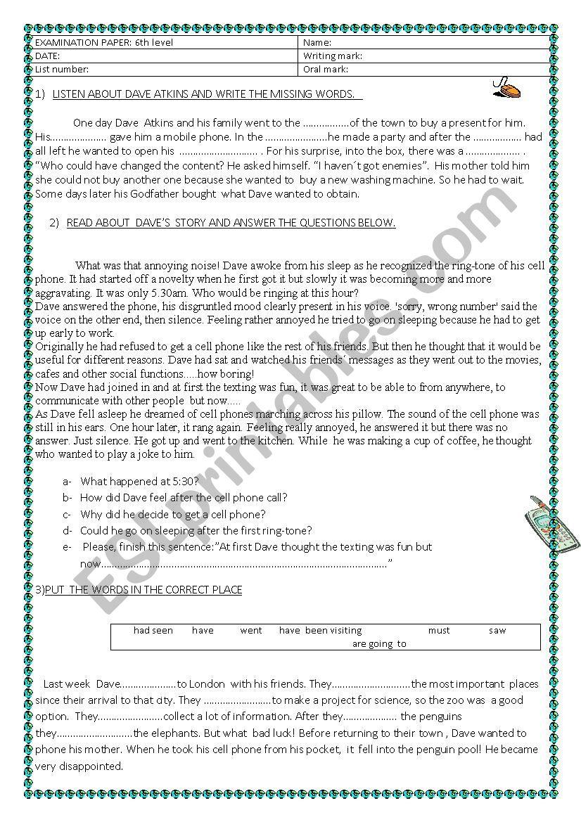 medium resolution of 6th grade test - ESL worksheet by lauflei