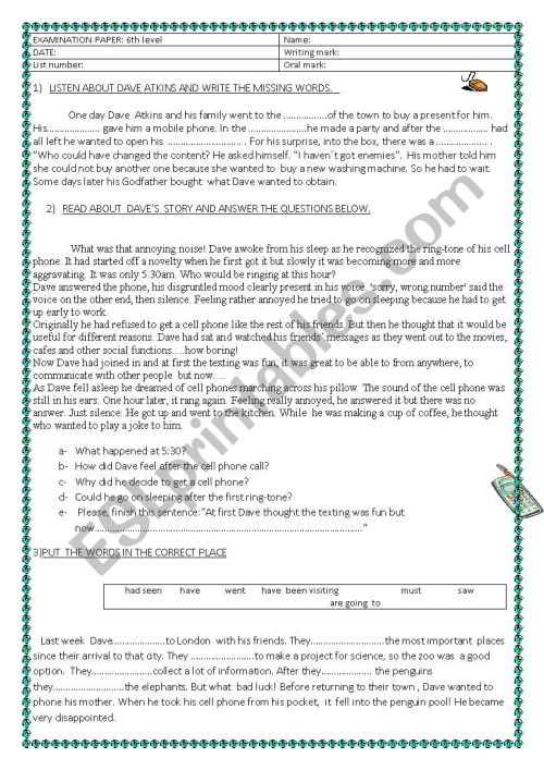 small resolution of 6th grade test - ESL worksheet by lauflei